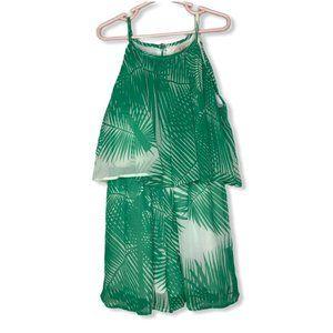Gianni Bini GB GIrls Size S Romper Tropical Green